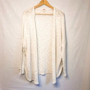 Mossimo White Textured Open Front Cardigan Size L